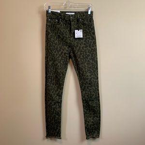 Zara Premium High Waist Leopard Print Skinny Jeans